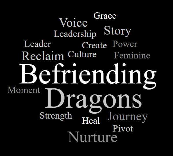 Word Cloud of Befriending Dragons: Reclaim Voice Leadership Power Story Grace Feminine Culture Create Moment Strength Heal Journey Pivot Nurture