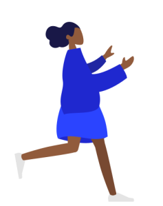Humaaans generated image of a dark skinned woman in a blue skirt and long sleeve top facing left and walking quickly with arms outstretched.
