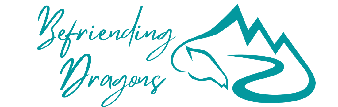 Befriending Dragons in teal script next to an outline of a teal dragon that is also a mountain, the dragon tail is a path