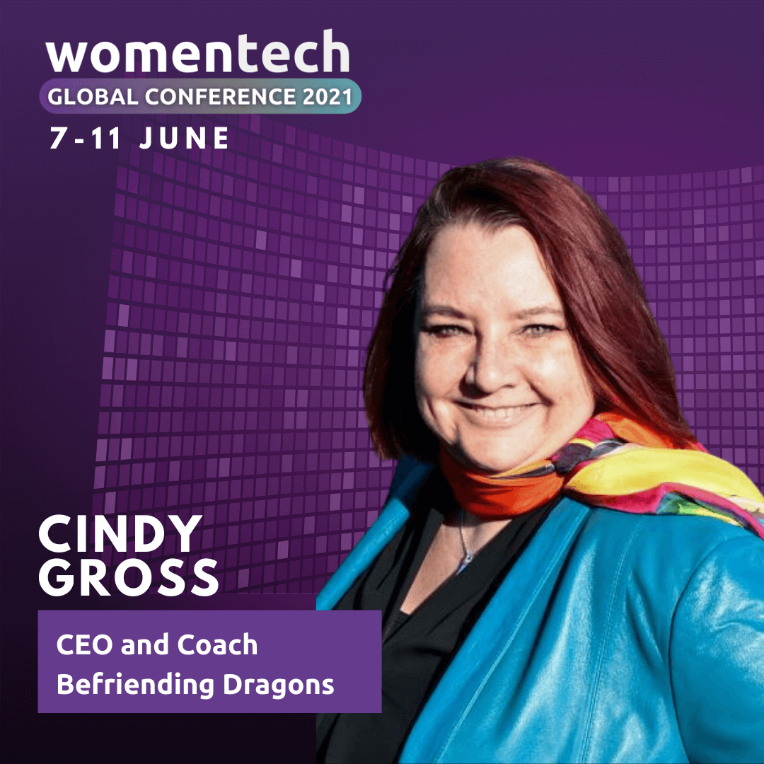 Cindy Gross, a white woman with red hair, against a purple background. CEO and Coach @ Befriending Dragons. Women Tech Global Conference July 7-11, 2021.